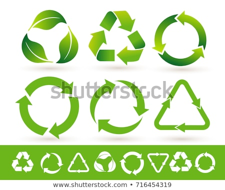 set of green recycle labels stock photo © orson