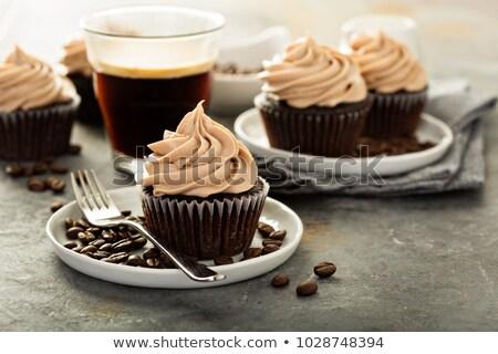 minitorta · eszpresszó · kávé · csésze · kávé · rózsaszín - stock fotó © aladin66