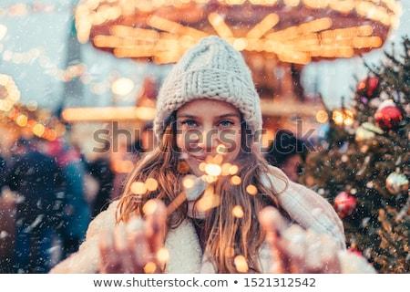 Foto stock: Ulher · feliz · lá · fora · no · inverno