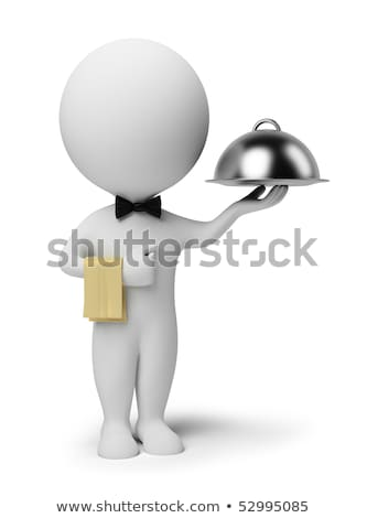 3d small people   waiter stock photo © anatolym