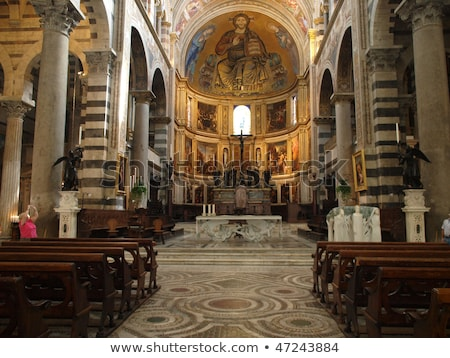 Pisa - Duomo interior. The nave and the altar Stock photo © wjarek