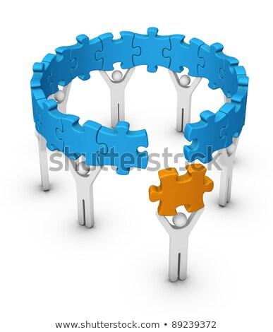 Férfi utolsó fűrész darab puzzle híd Stock fotó © almagami