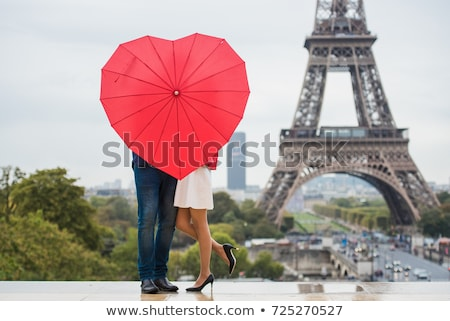 пару · Париж · Эйфелева · башня · небе · любви · город - Сток-фото © pkirillov