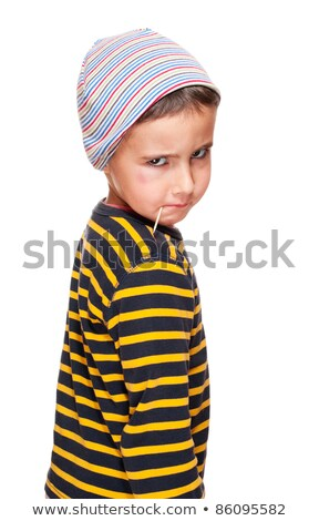 Little bully with toothpick and black eye in striped sweater Stock photo © pekour