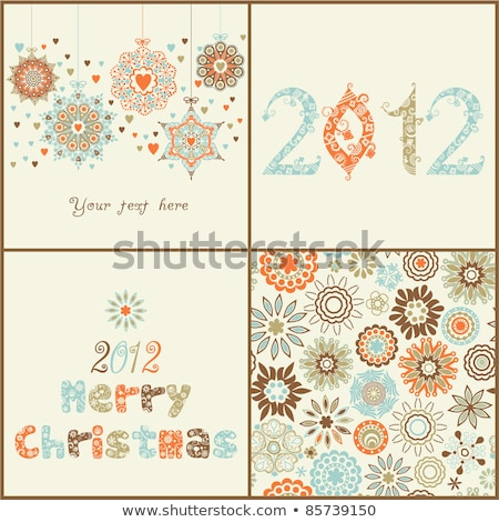 Photo stock: 2012 · floral · arbre · de · noël · rouge · couleur · flocons · de · neige