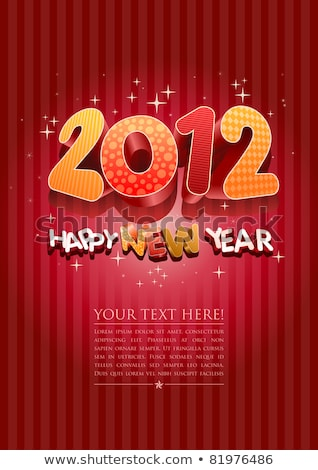 Photo stock: Happy · new · year · 2012 · nouvelle · année · modèle · de · conception · rouge · couleur