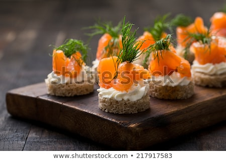 Stock photo: Canape with salmon