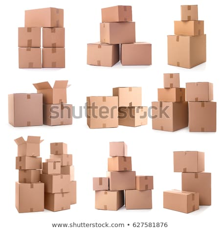 piles of cardboard boxes on a white background Stock photo © ozaiachin
