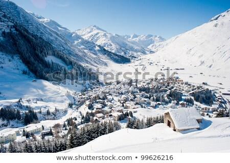 széles · kilátás · tél · alpesi · völgy · hó - stock fotó © pkirillov