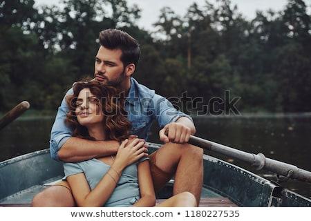 zárt · fiatal · pár · szeretet · fű · család - stock fotó © stryjek