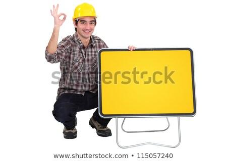 üres jelzőtábla munkás kommunikáció kalap fehér Stock fotó © photography33