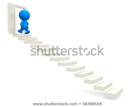 3d человек наверх открытых дверей исполнительного успех лестницы Сток-фото © dacasdo