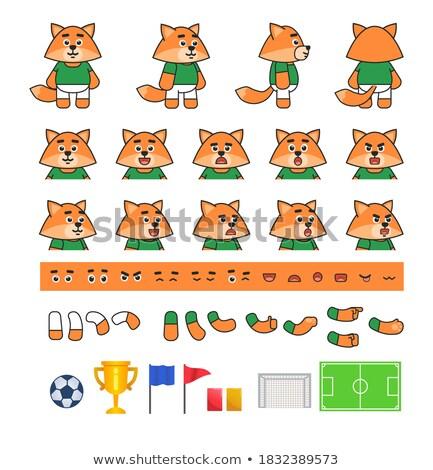 Fox вратарь цвета иллюстрация ног мяча Сток-фото © Galyna
