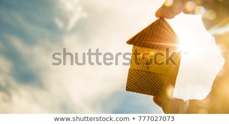 Symbolically, the house roof material into the hand. stock photo © justinb