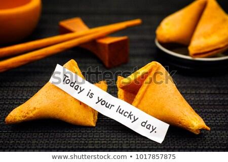 fortune · cookie · fortunato · giorno · messaggio · nero - foto d'archivio © Kacpura