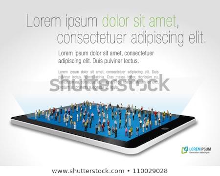 Zakenvrouw touch vrouw pak computer Stockfoto © leedsn
