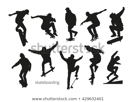 skateboarder silhouette on a grind stock photo © homydesign