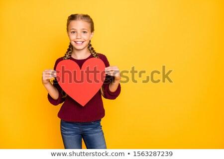 blond girl with red valentine card stock photo © dashapetrenko