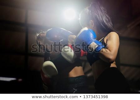 спортзал · женщину · боксерские · перчатки · глядя · дружественный - Сток-фото © stockyimages