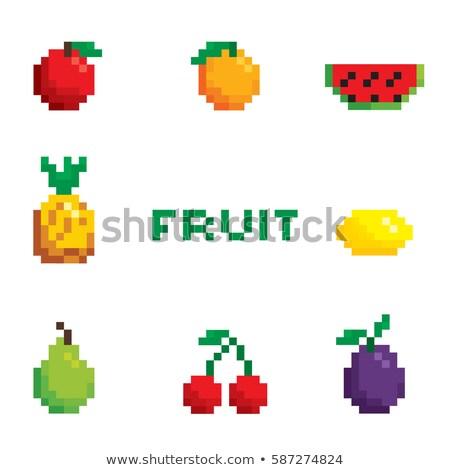 Пиксели фрукты набор вектора продовольствие яблоко Сток-фото © meshaq2000