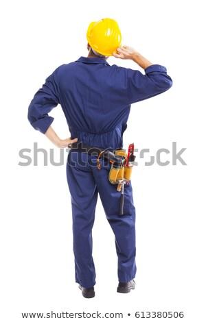 задумчивый лице строительство работник молодые Сток-фото © photography33