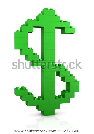 Dollar symbole briques blanche construction résumé Photo stock © donskarpo