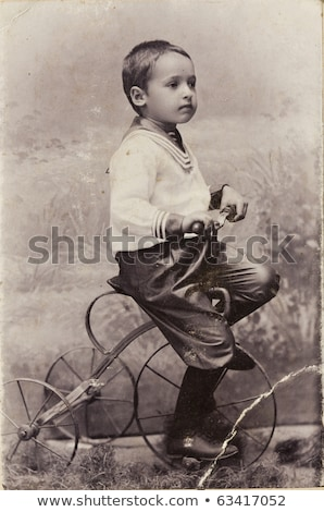 Little boy in bike child seat happy laughing stock photo © pekour