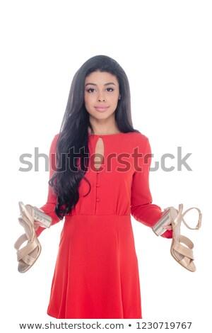 Nő tart piros szandál vonzó szőke nő Stock fotó © stryjek