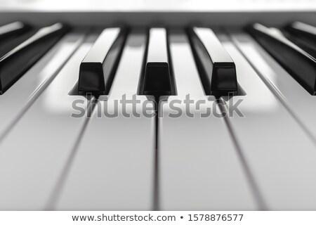 Stock photo: Grand piano keyboard close up