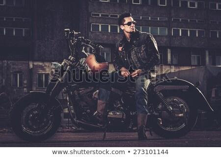 Rebel vintage motorfiets illustratie klassiek fiets Stockfoto © hauvi