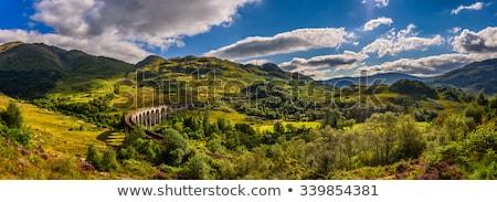 Vasút vasútállomás Skócia természet kereszt eső Stock fotó © vichie81