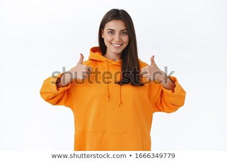 jovem · feliz · mulher · indicação · isolado - foto stock © rosipro