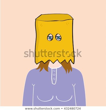 Ukryty za torby papierowe głowie człowiek twarz Zdjęcia stock © stevanovicigor