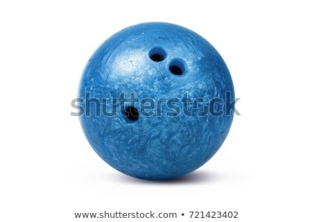 Blu palla da bowling isolato bianco giocare vicolo Foto d'archivio © ozaiachin