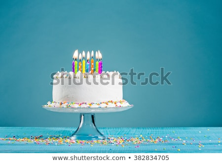 birthday cake with burning candles stock photo © loopall