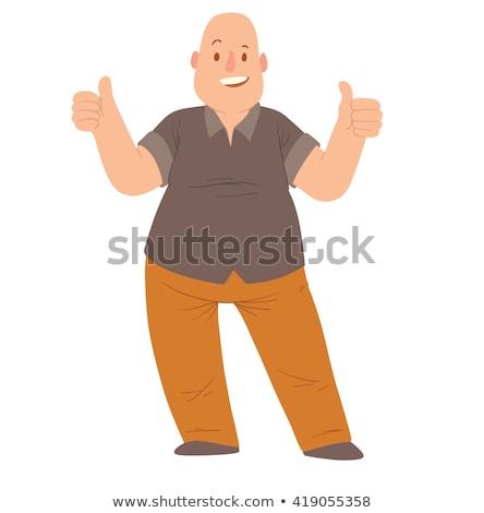 Fat Bald Man - Cartoon Character- Vector Illustration stock photo © indiwarm