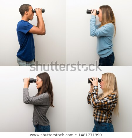 woman with binoculars set stock photo © cteconsulting