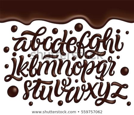 Сток-фото: шоколадом · письме · алфавит · 3D · знак · белый