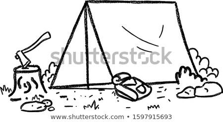 Camping tente feu de camp vecteur brûlant Photo stock © 5xinc