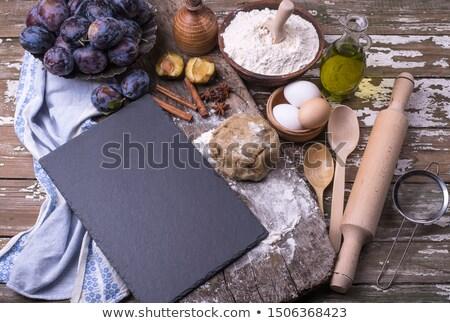 sütés · szilva · pite · hozzávalók · gyümölcs · tojás - stock fotó © rob_stark