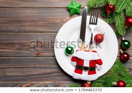 Noël manger plaques décorations vacances table Photo stock © MKucova