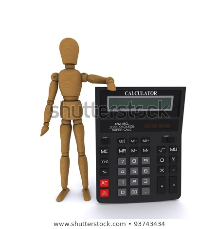 wooden doll man holding a calculator 3d rendering stock photo © cherezoff