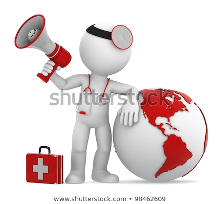 Doctor with globe and megaphone. Americas side Stock photo © Kirill_M