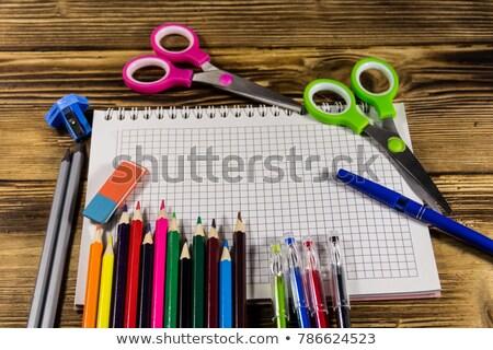 vektor · nyitva · jegyzettömb · ceruza · xxl · ikon · üres - stock fotó © oly5