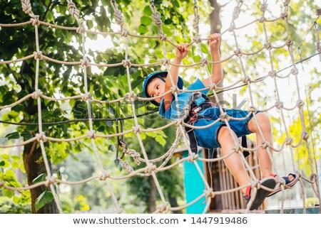 Stockfoto: Jongen · klimmen · touw · rock · berg · leuk