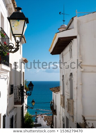öreg falu fehér keskeny utca tipikus Stock fotó © lunamarina
