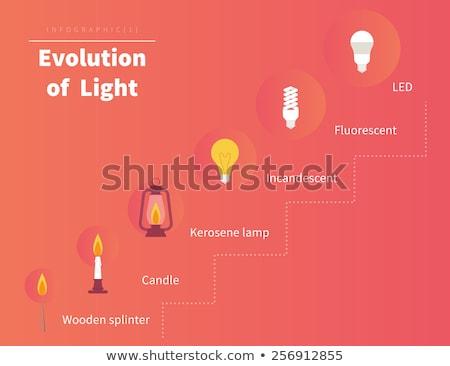 Lâmpada evolução ícones luz fogueira fundo Foto stock © Yuriy