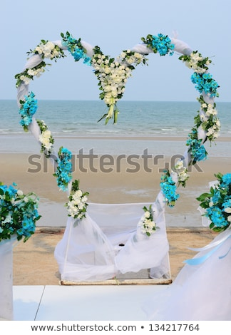 Flower decorated in heart shape in wedding ceremony which set up Stock photo © nuiiko