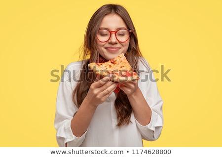Genç kız yeme pizza kız portre genç Stok fotoğraf © ambro