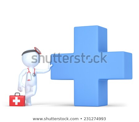 3d doctor with cross symbol. Medical service concept. Isolated. Contains clipping path Stock photo © Kirill_M